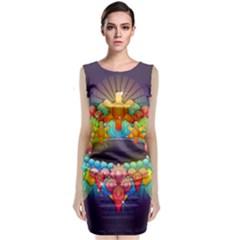 Badge Abstract Abstract Design Classic Sleeveless Midi Dress