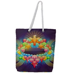Badge Abstract Abstract Design Full Print Rope Handle Tote (large)