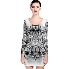 Forest Patrol Tribal Abstract Long Sleeve Bodycon Dress