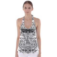 Forest Patrol Tribal Abstract Babydoll Tankini Top
