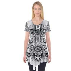 Forest Patrol Tribal Abstract Short Sleeve Tunic