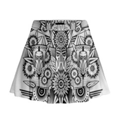 Forest Patrol Tribal Abstract Mini Flare Skirt