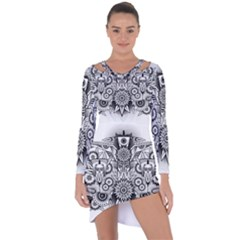 Forest Patrol Tribal Abstract Asymmetric Cut Out Shift Dress