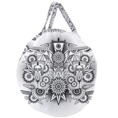 Forest Patrol Tribal Abstract Giant Round Zipper Tote