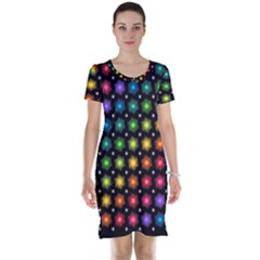 Background Colorful Geometric Short Sleeve Nightdress
