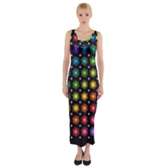 Background Colorful Geometric Fitted Maxi Dress