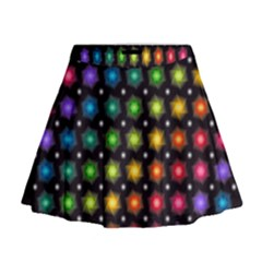 Background Colorful Geometric Mini Flare Skirt