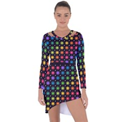 Background Colorful Geometric Asymmetric Cut Out Shift Dress