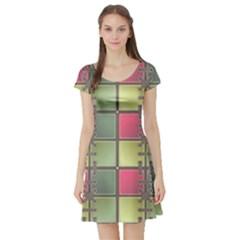Seamless Pattern Seamless Design Short Sleeve Skater Dress