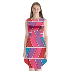 Abstract Background Colorful Sleeveless Chiffon Dress