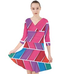 Abstract Background Colorful Quarter Sleeve Front Wrap Dress