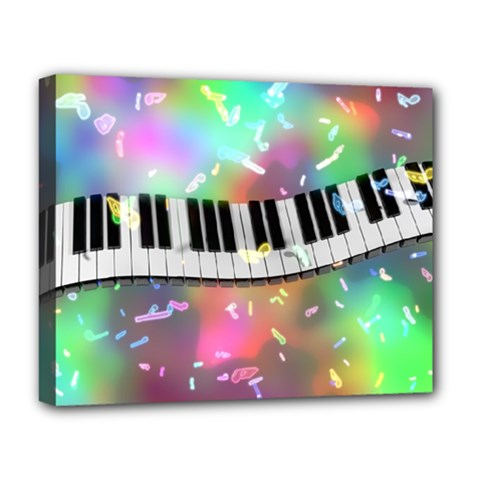 Piano Keys Music Colorful 3d Deluxe Canvas 20  X 16