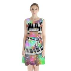 Piano Keys Music Colorful 3d Sleeveless Waist Tie Chiffon Dress