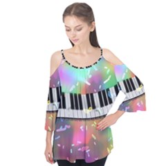 Piano Keys Music Colorful 3d Flutter Tees
