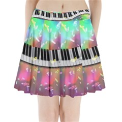 Piano Keys Music Colorful 3d Pleated Mini Skirt