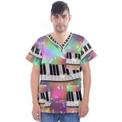 Piano Keys Music Colorful 3d Men s V Neck Scrub Top