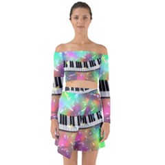 Piano Keys Music Colorful 3d Off Shoulder Top With Skirt Set