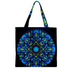 Mandala Blue Abstract Circle Zipper Grocery Tote Bag