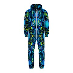Mandala Blue Abstract Circle Hooded Jumpsuit (kids)