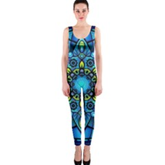 Mandala Blue Abstract Circle Onepiece Catsuit
