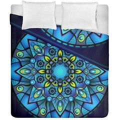 Mandala Blue Abstract Circle Duvet Cover Double Side (california King Size)
