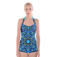 Mandala Blue Abstract Circle Boyleg Halter Swimsuit