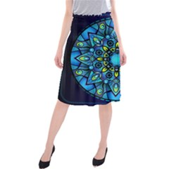 Mandala Blue Abstract Circle Midi Beach Skirt