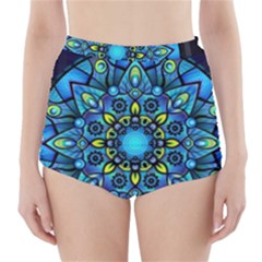 Mandala Blue Abstract Circle High Waisted Bikini Bottoms