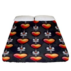 Love Heart Background Fitted Sheet (queen Size)