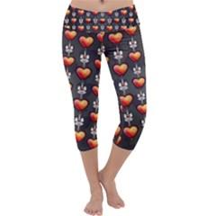 Love Heart Background Capri Yoga Leggings