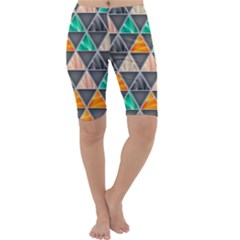 Abstract Geometric Triangle Shape Cropped Leggings