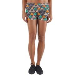 Abstract Geometric Triangle Shape Yoga Shorts