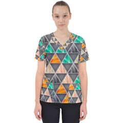 Abstract Geometric Triangle Shape Scrub Top