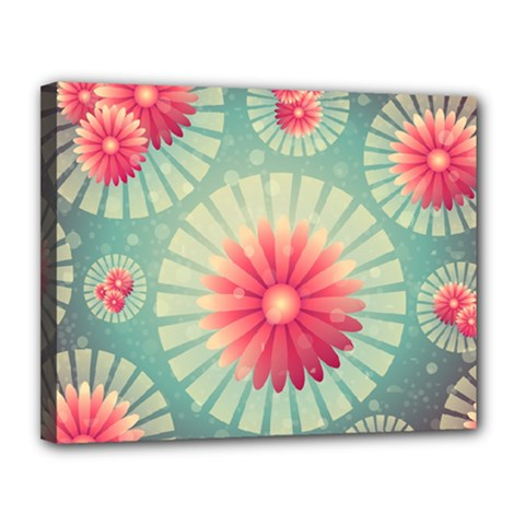 Background Floral Flower Texture Canvas 14  X 11