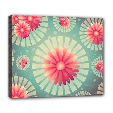 Background Floral Flower Texture Deluxe Canvas 24  X 20