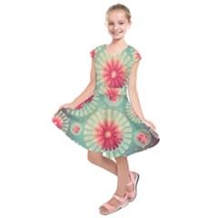 Background Floral Flower Texture Kids  Short Sleeve Dress