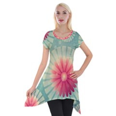 Background Floral Flower Texture Short Sleeve Side Drop Tunic