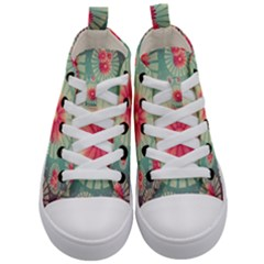 Background Floral Flower Texture Kid s Mid Top Canvas Sneakers