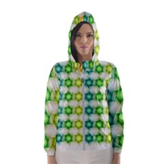 Background Colorful Geometric Hooded Wind Breaker (women)