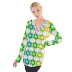 Background Colorful Geometric Tie Up Tee
