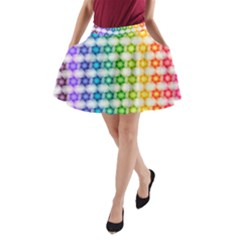 Background Colorful Geometric A Line Pocket Skirt