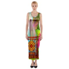 Zen Garden Japanese Nature Garden Fitted Maxi Dress