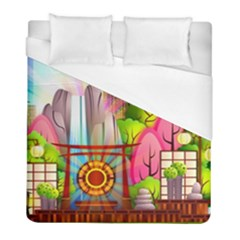 Zen Garden Japanese Nature Garden Duvet Cover (full/ Double Size)