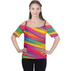 Colorful Background Cutout Shoulder Tee