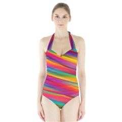 Colorful Background Halter Swimsuit