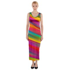 Colorful Background Fitted Maxi Dress
