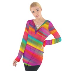 Colorful Background Tie Up Tee
