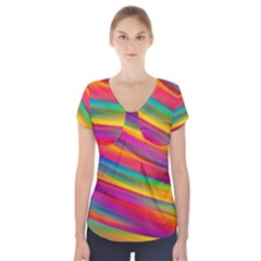 Colorful Background Short Sleeve Front Detail Top