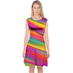 Colorful Background Capsleeve Midi Dress