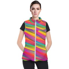 Colorful Background Women s Puffer Vest